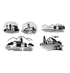 farm emblem on white background italian style vector image