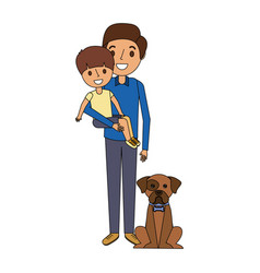 father holding their son with her dog vector image