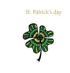 four leaf clover icon green herb isolated on vector image
