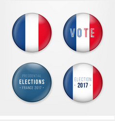 france presidential election voting badges set a vector image