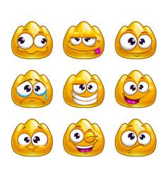 Funny cartoon yellow jelly monster vector