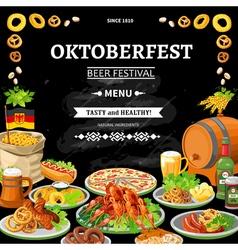 German Oktoberfest Chalkboard Menu Flat Poster vector