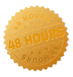 Gold 48 hours medal stamp vector