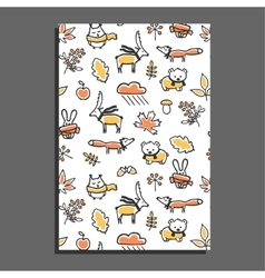 Greeting card with autumn pattern vector image