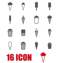 grey ice cream icon set vector image