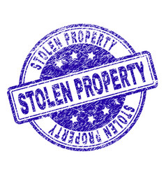 Grunge textured stolen property stamp seal vector