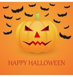 Halloween background with pumpkin and flying bat vector image
