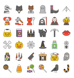 halloween character and spooky things icon such vector image