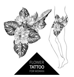 hand drawn flowers and leaves tropical plants vector image