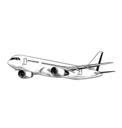 Hand drawn sketch of aircraft in black isolated vector