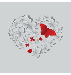 Heart of paper butterflies vector image