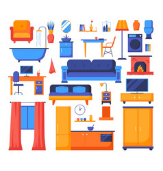 house object - set flat design style elements vector image