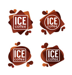 Ice coffe collection of summer drinks labels vector