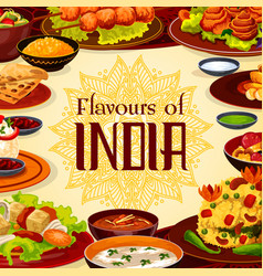 indian cuisine food traditional meals menu vector image