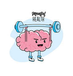 Kawaii brain with glasses and dumbbells design vector