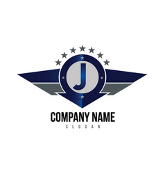 letter j shield logo vector image