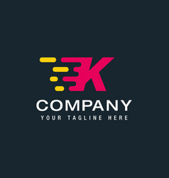 letter k with delivery service logo fast speed vector image