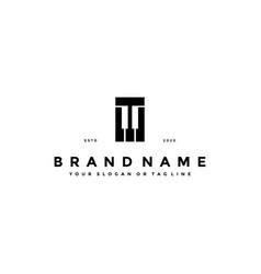 Letter t piano logo design vector