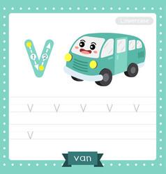 Letter v lowercase tracing practice worksheet van vector