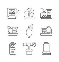 Line Icons Medical Device Icon Set of Operating vector