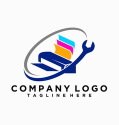 Logo or printer repair icon vector