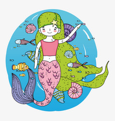 Mermaid woman with fishes and shells underwater vector