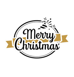 merry christmas typography label with symbols vector image