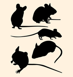 mice rat mouse animal gesture silhouette vector image