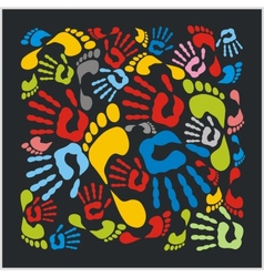 Mixed colour handprints and footprints vector