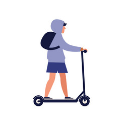 modern guy riding electric kick scooter trendy vector image