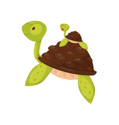 mother and baby turtle swimming underwater cute vector image
