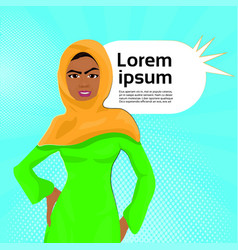 muslim woman in traditional clothes over retro vector image