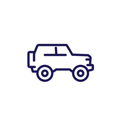 off-road car 4wd truck line icon vector image