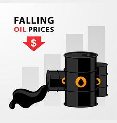 Oil price trend flat design chart with down red vector