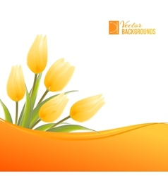 Orange card with tulips vector image
