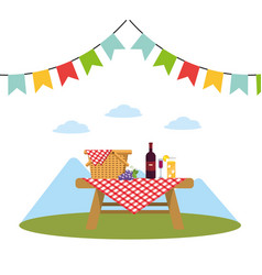 Picnic on park vector