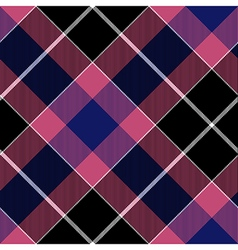 Pink blue diagonal check plaid seamless pattern vector