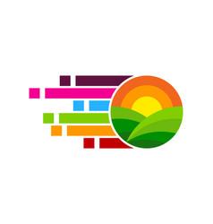 Pixel farm logo icon design vector