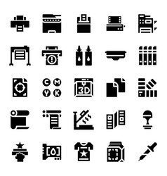 Printer and plotter solid icons vector