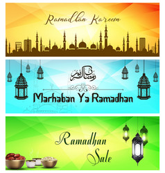 ramadan kareem sale with crescent moon vector image