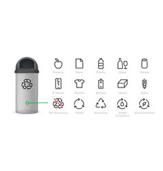 recycling icon types waste materials vector image