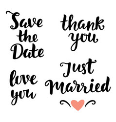 Save date love you just married thank you vector