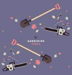 seamless pattern and label for garden tools store vector image