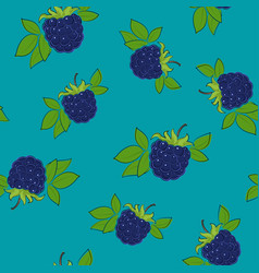 seamless pattern blackberry on azure background vector image