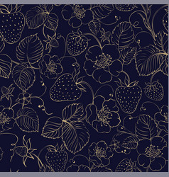 seamless pattern of golden strawberry on dark vector image