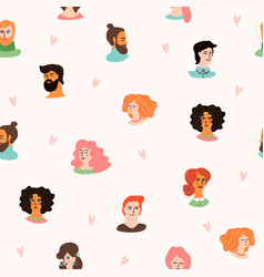 seamless pattern with cute young women and vector image