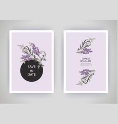 Set card with flower lavender leaves wedding vector