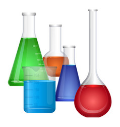 Set chemical flasks with colorful fluids vector