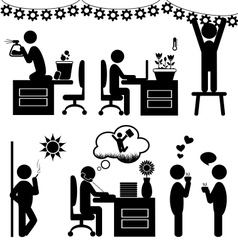 set flat office spring icons isolated on white vector image