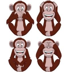 set four monkeys vector image
